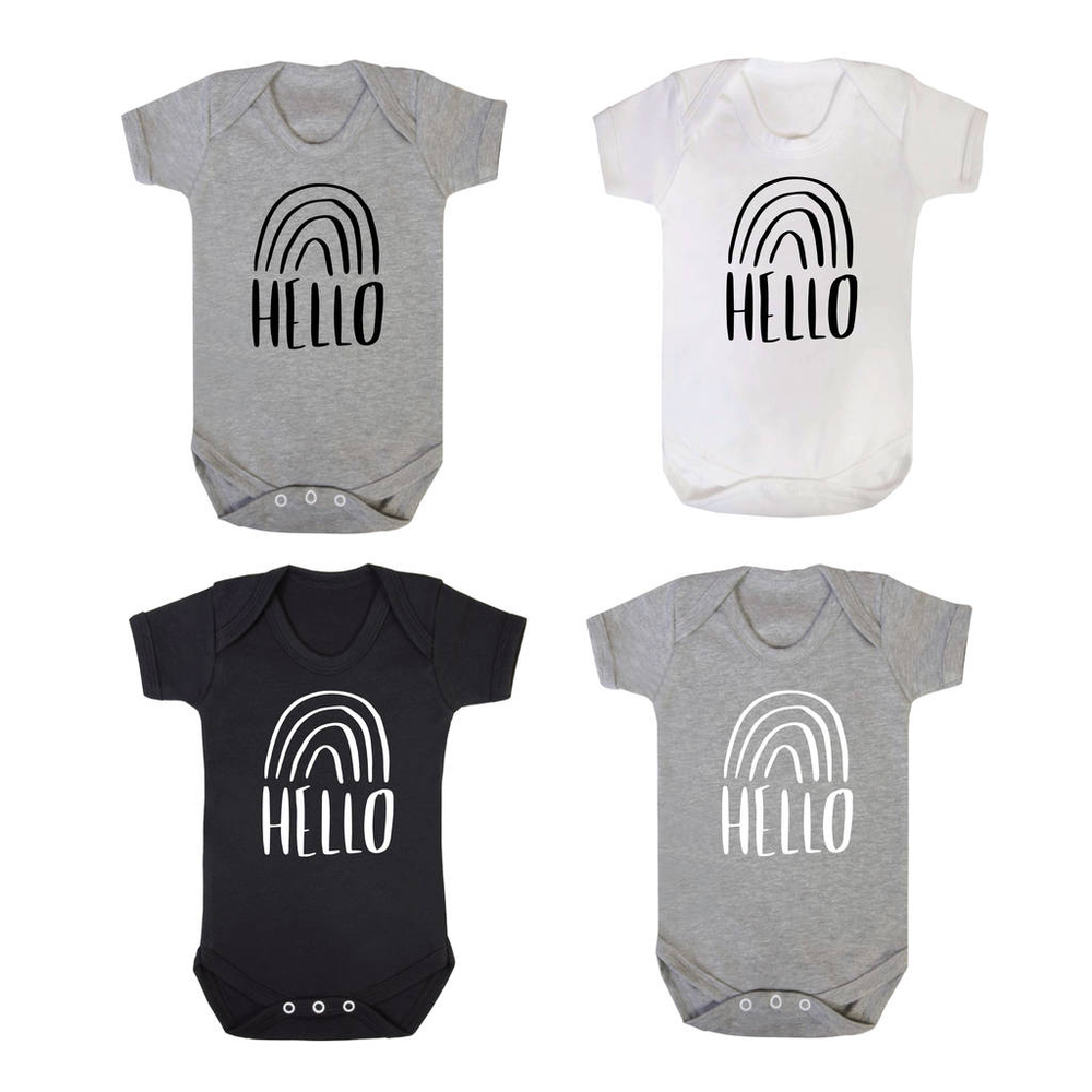 Rainbow New Baby Announcement BodysuitClouds and Currents