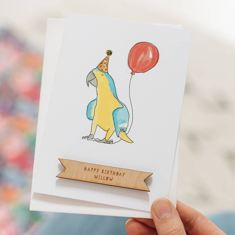 Personalised Parrot Happy Birthday Card
