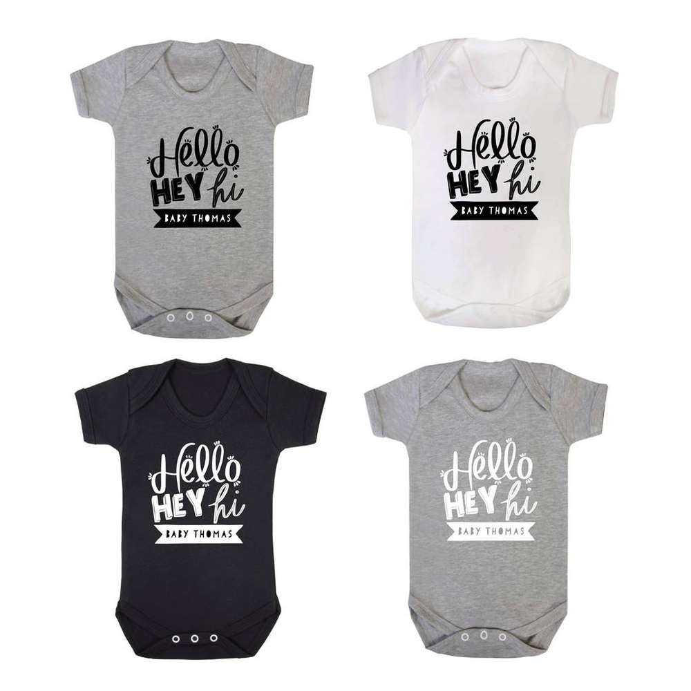 Personalised New Baby Announcement Baby GrowClouds and Currents