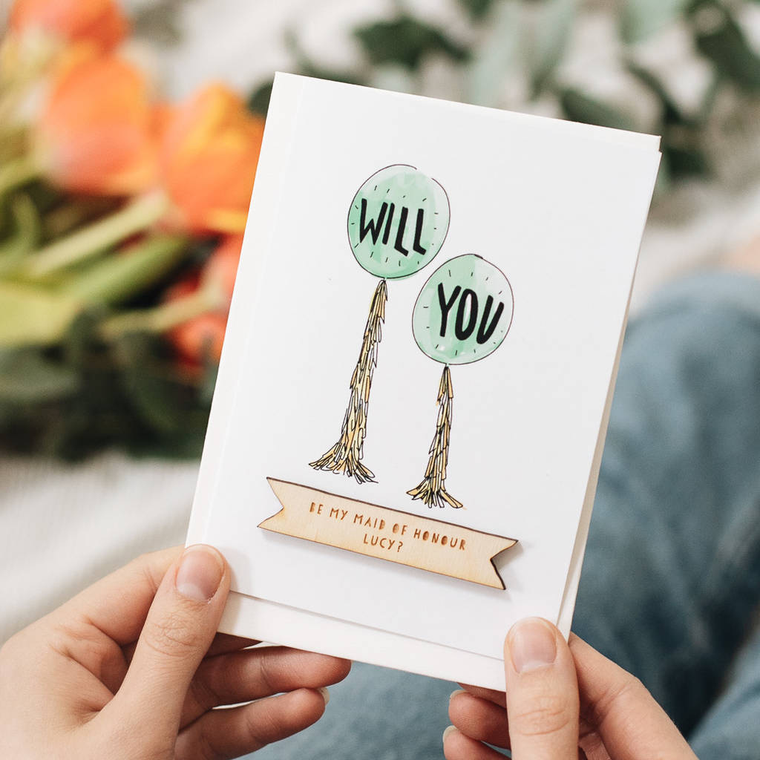 PERSONALISED WILL YOU BY MY...CELEBRATION CARD