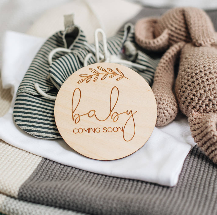 PERSONALISED WOODEN PREGNANCY BUMP MILESTONE TOKENS-clouds-and-currents
