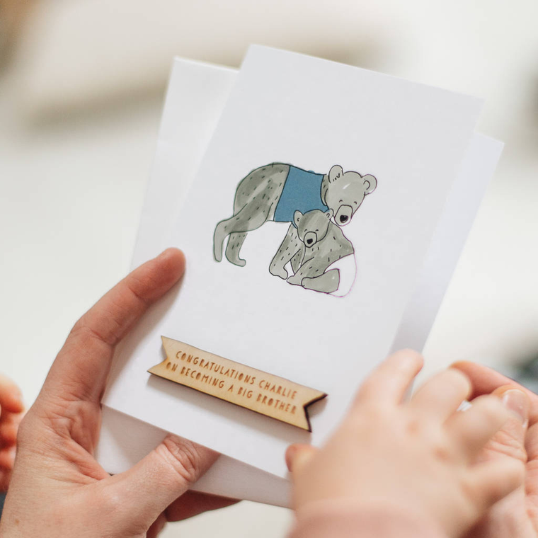 PERSONALISED NEW BEAR BABY BROTHER CARD