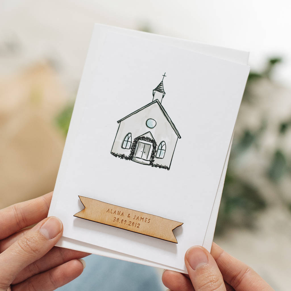 Personalised Wedding Church CardClouds and Currents