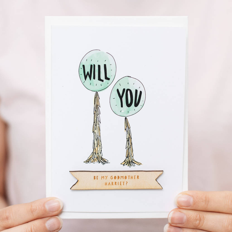 PERSONALISED WILL YOU BY MY...CELEBRATION CARD-clouds-and-currents