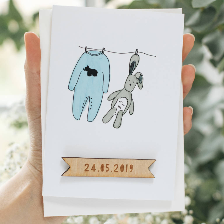 PERSONALISED NEW BABY BOY CARD-clouds-and-currents