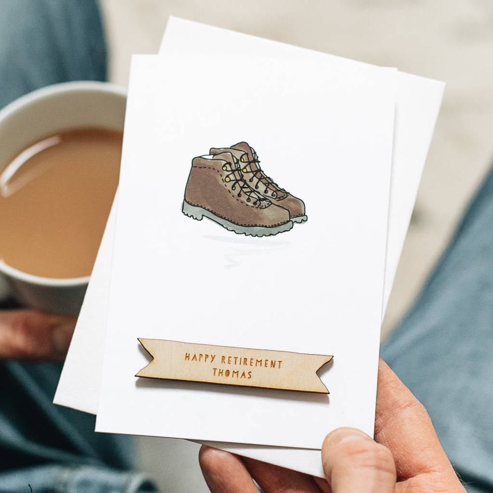 Personalised Walking Boots Retirement CardClouds and Currents