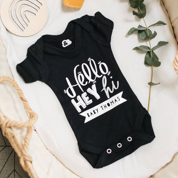 CLEARANCE New Baby Birth Announcement Baby Grow 'Thomas'