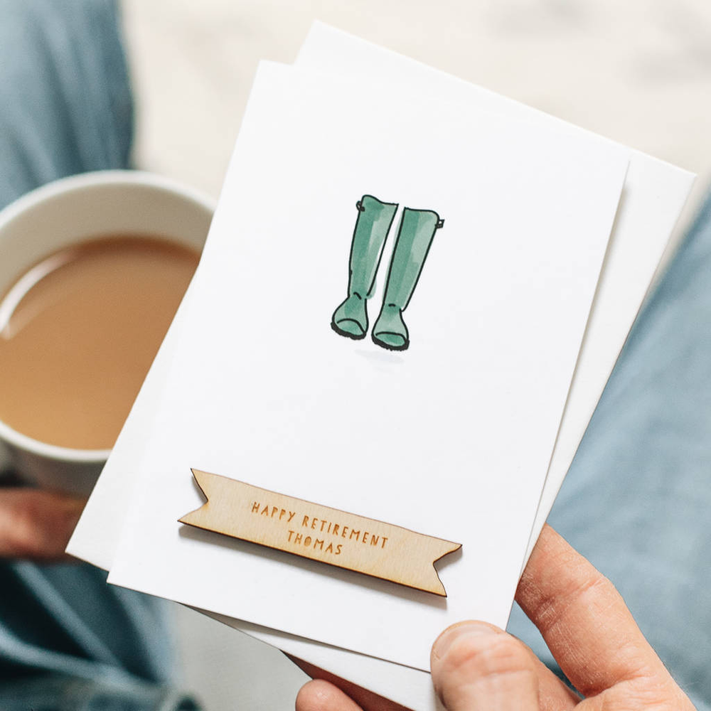 Personalised Garden Wellies Retirement CardClouds and Currents