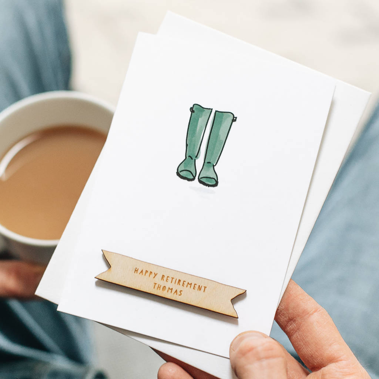 Personalised Garden Wellies Retirement Card