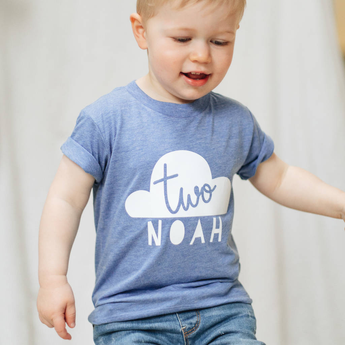 PERSONALISED KIDS BIRTHDAY T SHIRT-clouds-and-currents