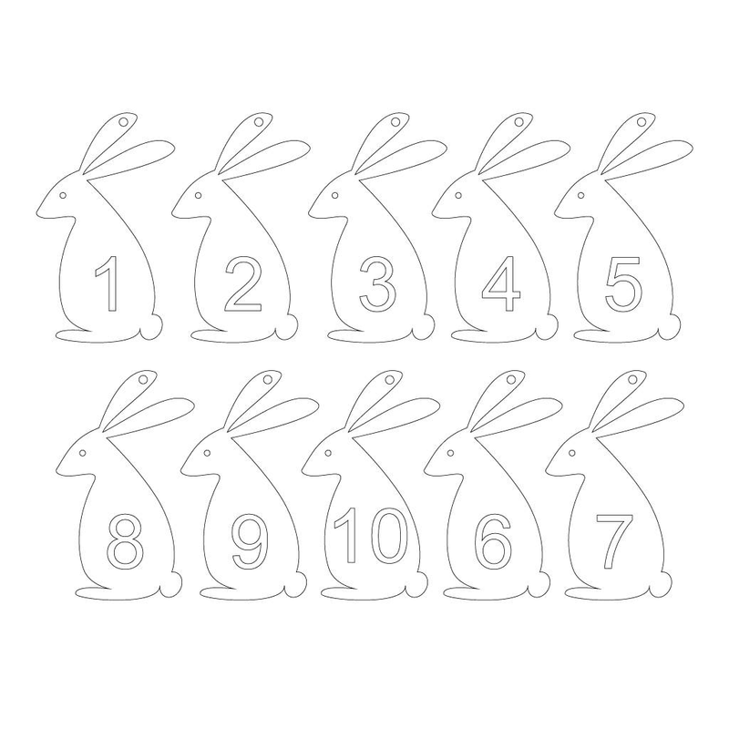 PACK OF 10 NUMBERED EASTER EGG HUNT RABBITS-clouds-and-currents