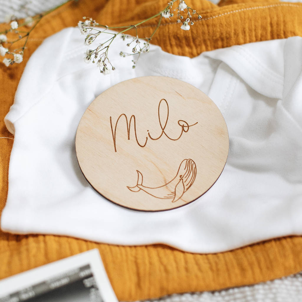 Personalised New Baby Name Keepsake SignClouds and Currents
