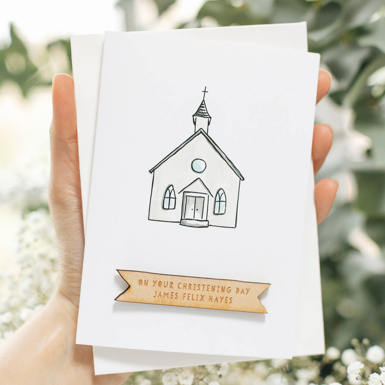 PERSONALISED HANDMADE CHURCH CHRISTENING CARD