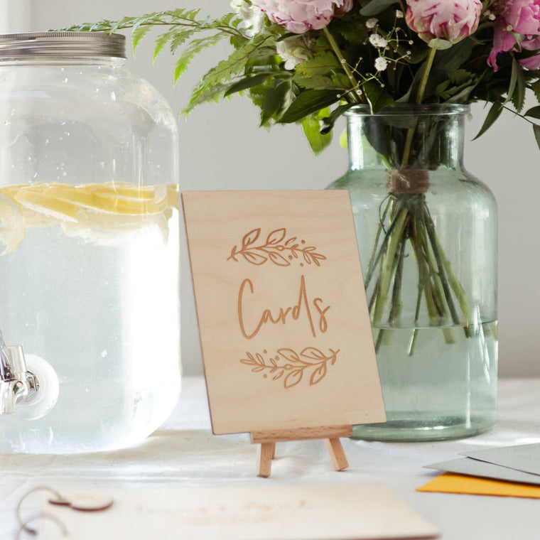 FLORAL WEDDING CARD TABLE SIGN
