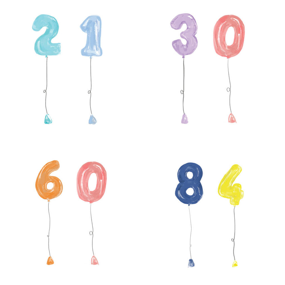 Personalised Age Birthday Balloon CardClouds and Currents