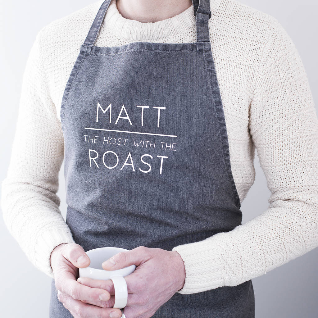 PERSONALISED MEN'S SLOGAN APRON-clouds-and-currents