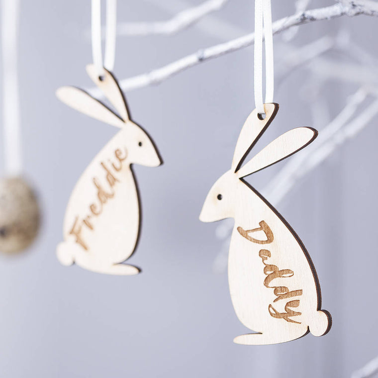 PERSONALISED EASTER BUNNY FAMILY DECORATION-clouds-and-currents