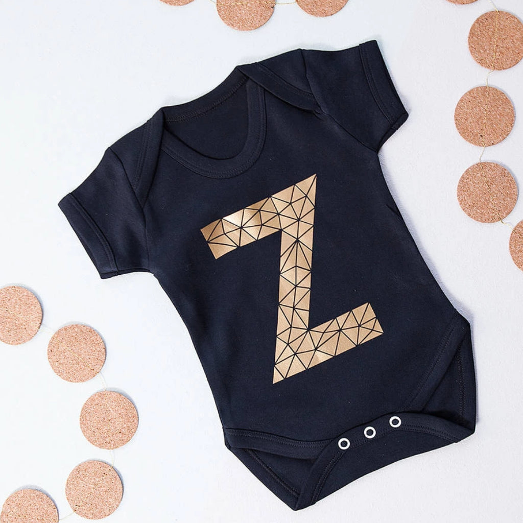 GEOMETRIC KID'S INITIAL BABY GROW, T-SHIRT, HOODIE-clouds-and-currents