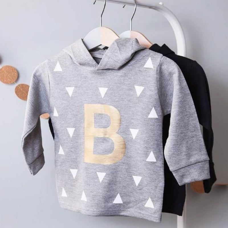 CLEARANCE PERSONALISED INITIAL KID'S HOODIE-clouds-and-currents