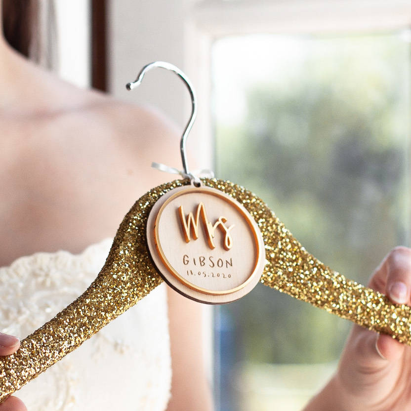Mrs Bridal Wedding Hanger CharmClouds and Currents