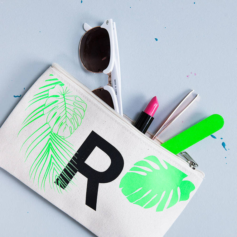 CLEARANCE INITIAL TROPICAL MAKEUP BAG-clouds-and-currents