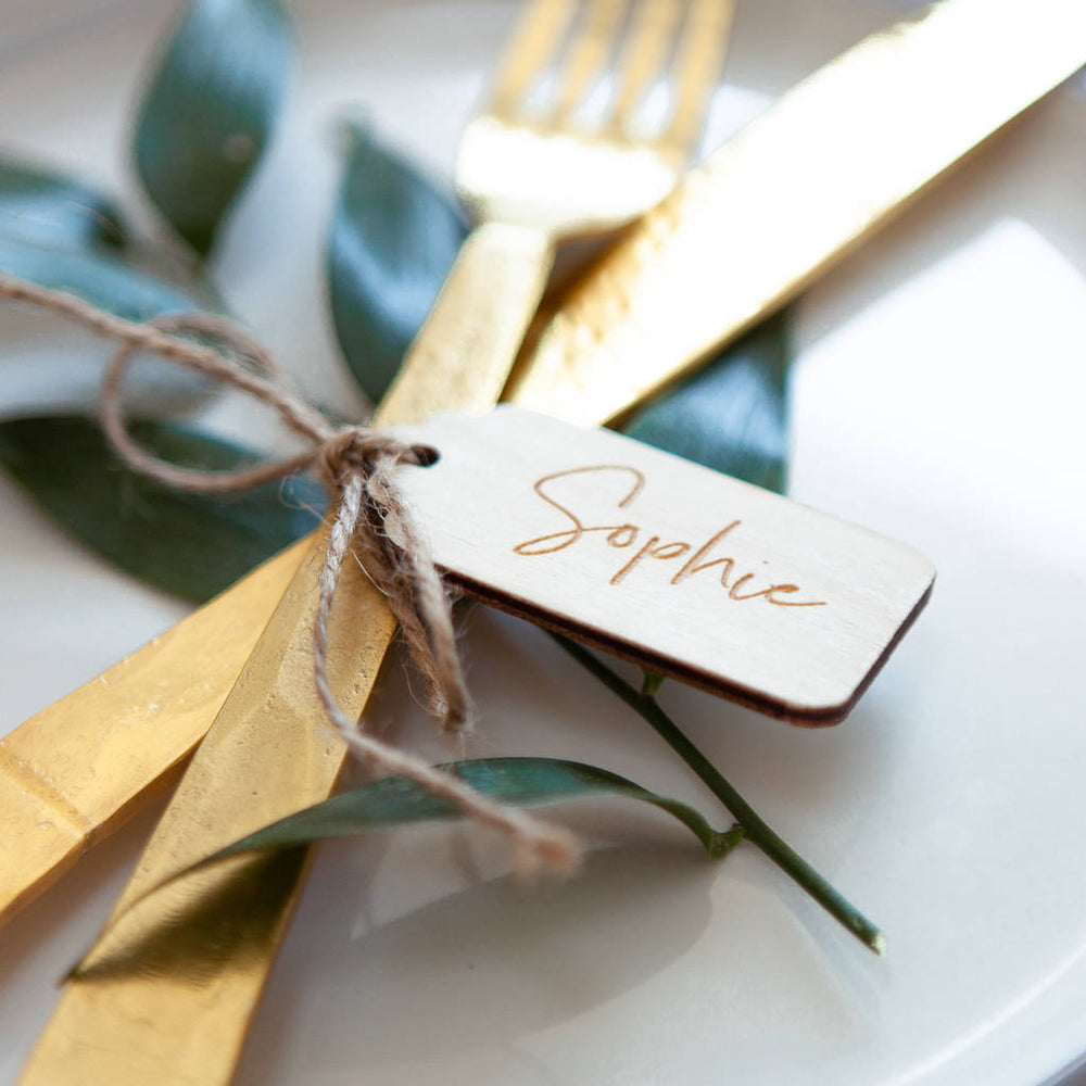 Wooden Luggage Tag Place Setting