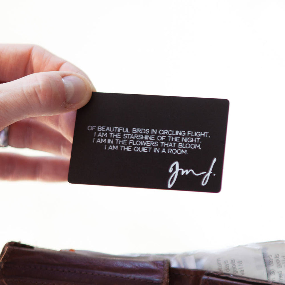 Handwriting Quote Wallet Card