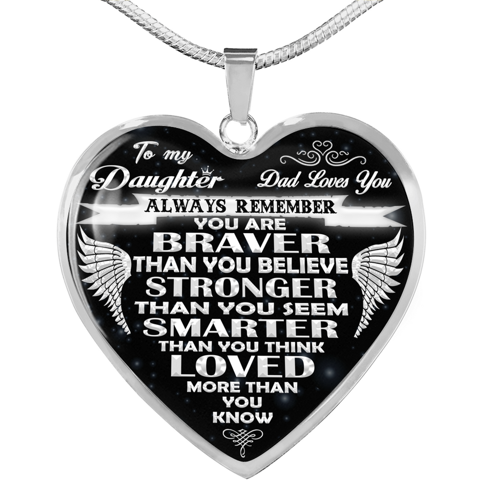 You are Braver Than You Believe Quotes Heart Pendant Necklace for Little Girl Children Granddaughter from Grandma