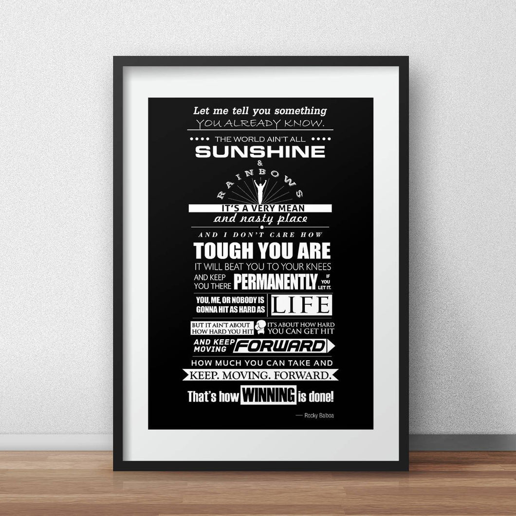 Inspirational wall art poster Motivational quote Rocky balboa  typographic poster