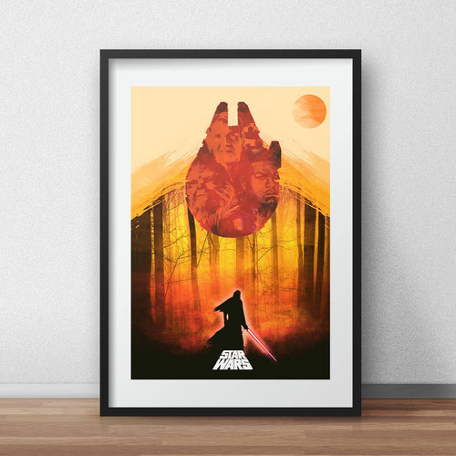 Star wars the force awakens print alternative movie poster han solo chewbacca