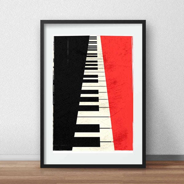 Minimalistic Grand piano keys illustation poster A3 digital print - iamloudness