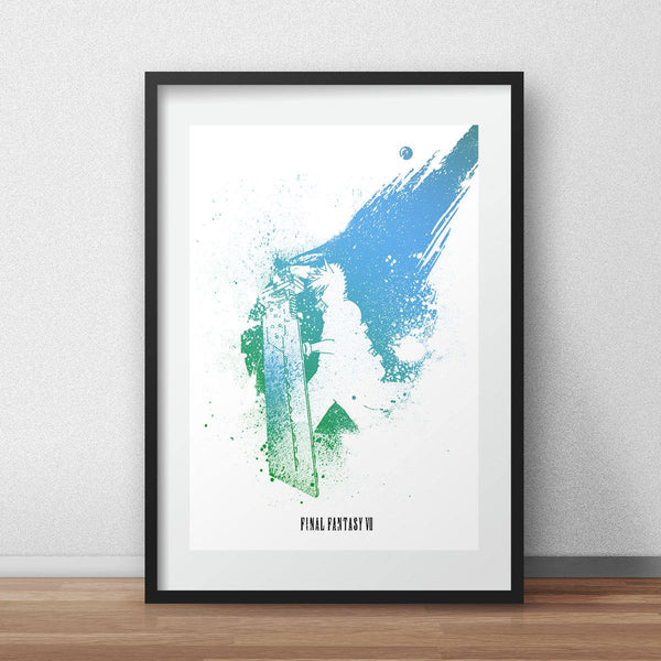 Final fantasy game poster cloud artwork game print - iamloudness