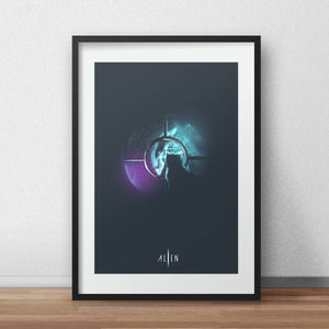 Alien Movie poster Alternative art print space print nebula Jonesy the cat