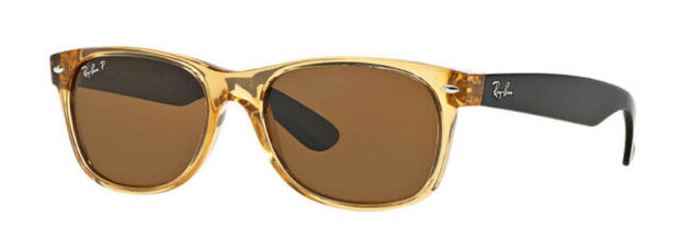 Ray Ban 0RB2132 Wayfarer Bi-color Honey and Black with Polarized Brown Classic Lenses