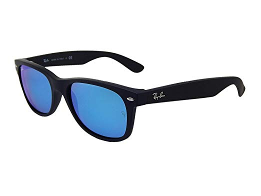 Ray Ban 0RB2132 Wayfarer Flash Black with Blue Flash Lenses