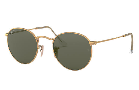 Ray Ban 0RB3447 Round Metal, Gold with Polarized  Green Classic Lenses