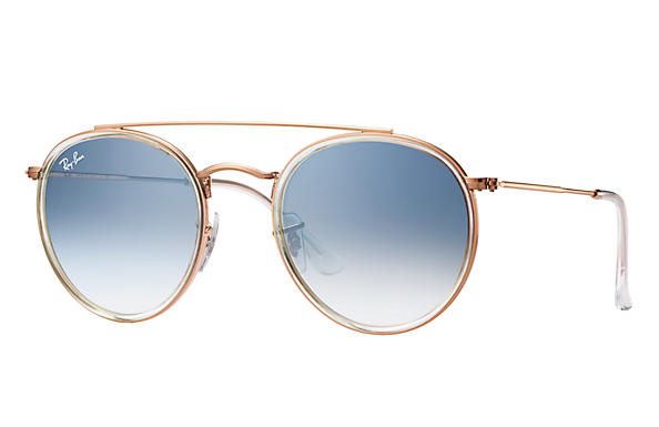 Ray Ban 0RB3647N Round Double Bridge, Copper With Clear Gradient Blue