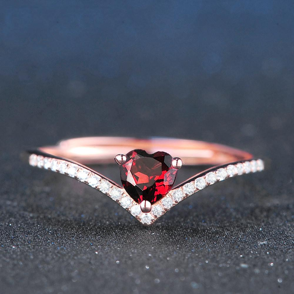 Natural Heart Cut Garnet Ring