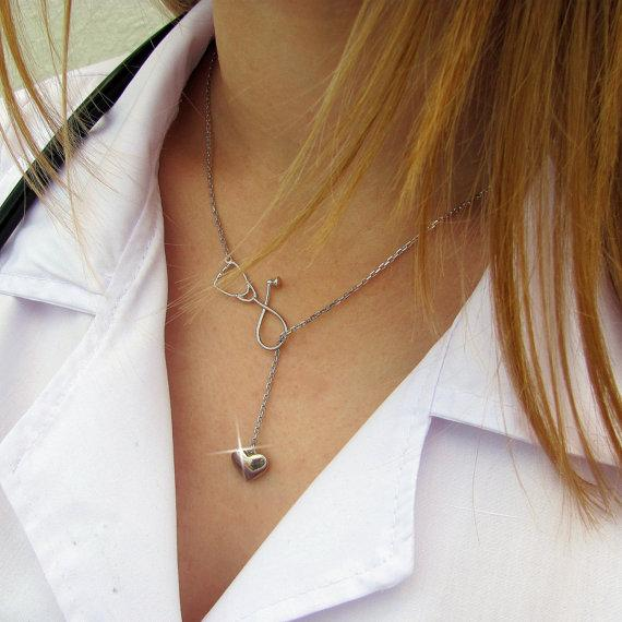 Stethoscope Lariat Heart Necklace