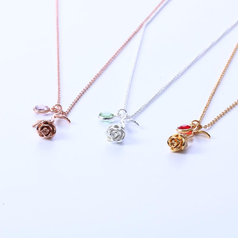 Custom Birthstone Rose Necklace