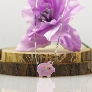 Pink Opal Pig Necklace