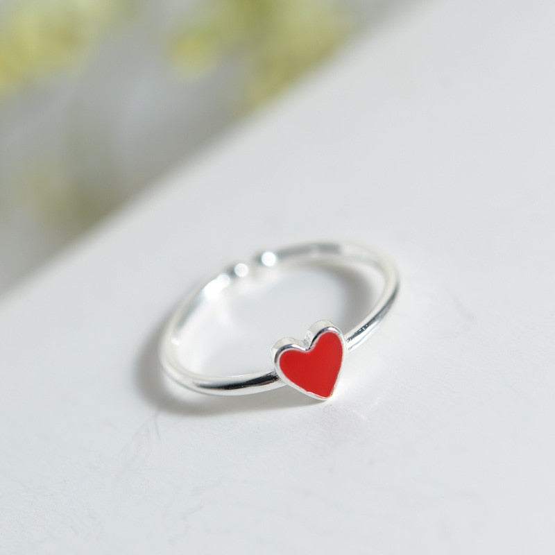 925 Sterling Silver Love Ring Peach Opening Delicate Female