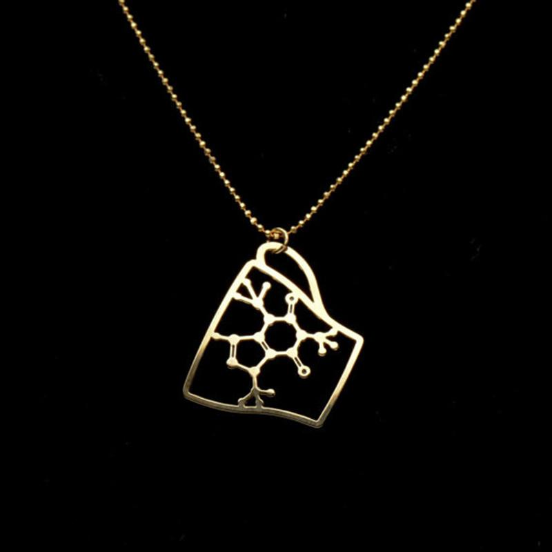 "Coffee Cup ""Caffeine"" Molecule Necklace"