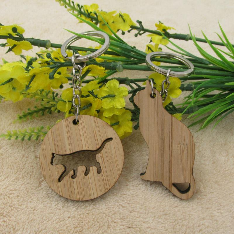Wooden Cat Keychains