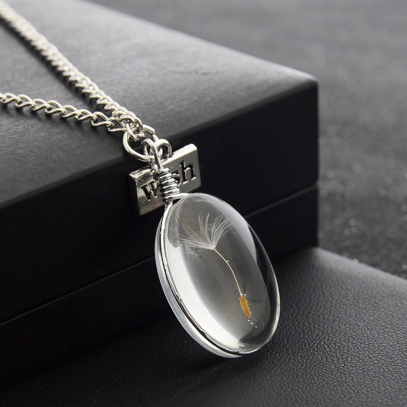 Dandelion seed wish necklace