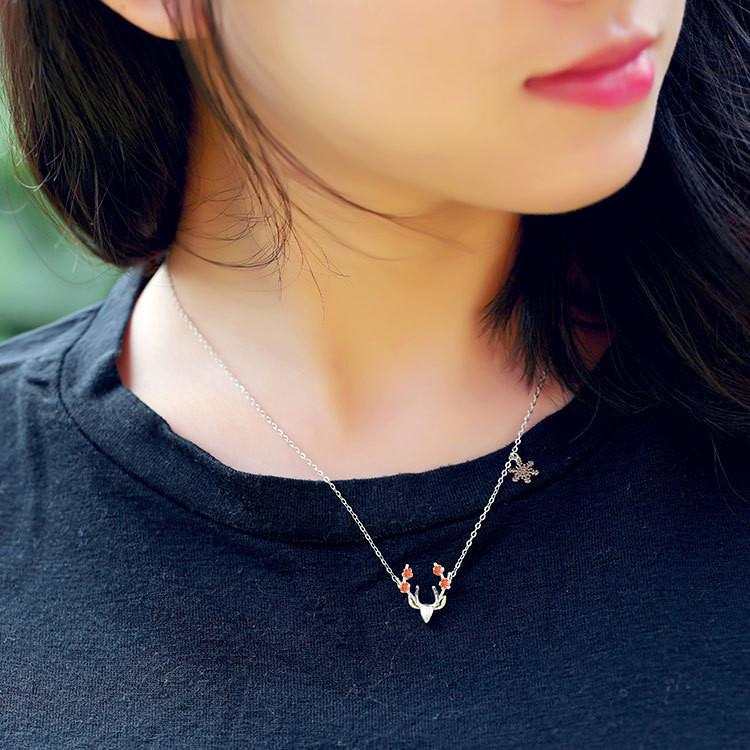 Sterling Silver Deer Necklace