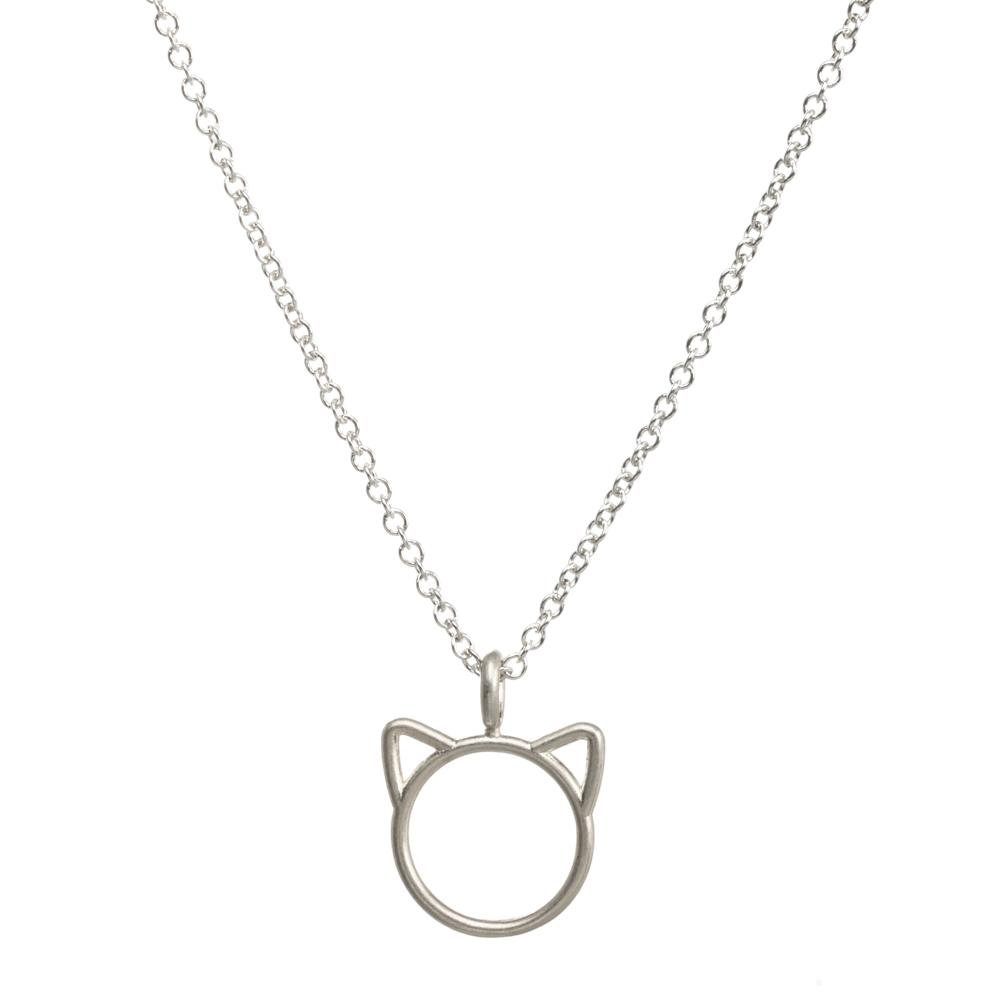 silver pin moonlight necklace sterling cat