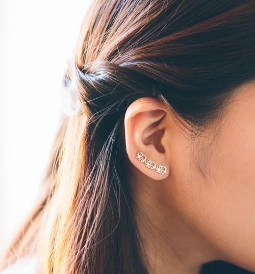 Elephant Ear Climber Earrings