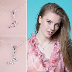 Sterling Silver Serotonin necklace with cubic zirconia pieces.