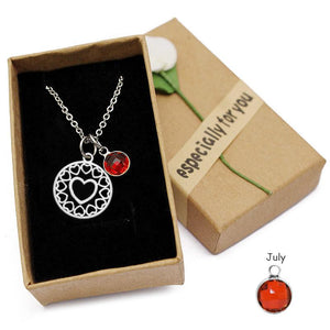 Hollow Heart Birthstone Necklace All 12 Months